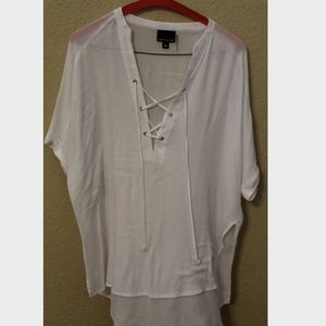 Sweet Claire Lace Up White Blouse/Top